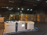 Inside the warehouse where newspapers are to be deposited