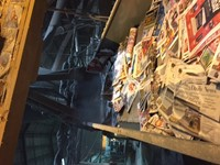 Close up of conveyor belt leading to chopping machine.